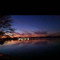 Sunset on Lake Cadillac, Cadillac, Michigan.. My front yard<3