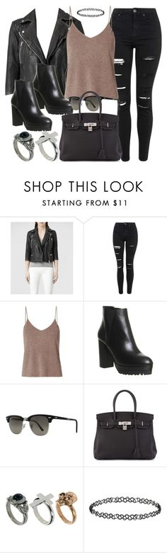 """""""Style #11032"""" by vany-alvarado ❤ liked on Polyvore featuring AllSaints, Topshop, T By Alexander Wang, Office, Ray-Ban, Hermès and River Island"""