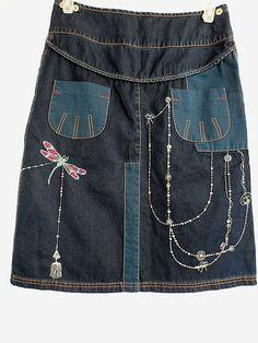 Oilily Denim Jean Skirt Bohemian Embellished Beaded Patchwork Size 38 US 8  #Oilily #PeasantBoho