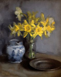'Studio Corner'. Still life oil painting of daffodils, pewter plate and blue and white jug by Helen Davison