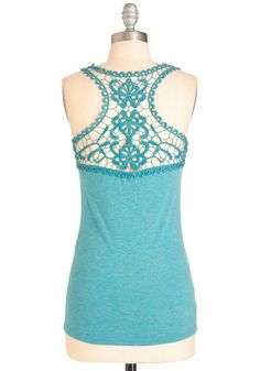 Poet to Be True Top in Teal - Solid, Crochet, Casual, Sleeveless, Spring, Variation, Scoop, Green, Sleeveless, Mid-length, Blue, Boho, Festival