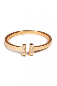 Loren Stewart Gold w:6 diamonds Adjustable Ring, $450