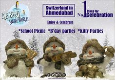 #Snowman at ICEBERG SNOWWORLD are making lot of noise and inviting teenagers & toddlers to enjoy their theme #BirthdayParties #SchoolPinics with them. There is a heavy #Snowfall at Iscon cross roads in Devarc Mall first floor, don't miss the fun under -5 degree. Fun unlimited assured, call us for bookings at 079 4009 1310 / 70439 77767