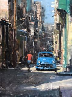 """Havana Classic"" by Bryan Mark Taylor Oil ~ x Classic Paintings, City Painting, Art Painting, Urban Painting, Urban Art, Painting, Art, Cityscape Painting, Peace Art"