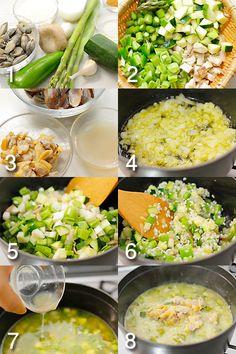 あさりと野菜のアロス・カルドソ手順