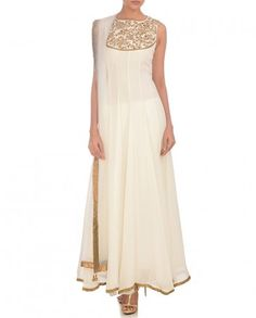 Pristine White Anarkali Suit with Embellished Yoke - Aneehka - Designers