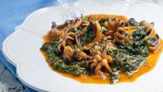 Tintenfisch mit Spinat