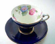 Vintage 1950's Aynsley blue and gold tea cup set by ShoponSherman