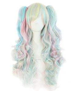Tsnomore Multi-color Lolita Long Curly Clip on pigtail Cosplay Wig Blue Theme pigtail wig Cosplay Hair, Cosplay Wigs, Anime Cosplay, Itachi Cosplay, Costume Wigs, Kawaii Hairstyles, Pretty Hairstyles, Wig Hairstyles, Curly Hair Care