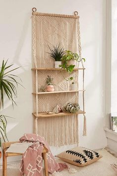 Urban Outfitters Macramé Hanging Shelf