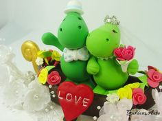Dino Love Wedding Cake Topper with Sweet Floral Gondola for Italy Themed Wedding