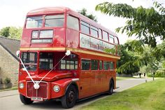 A classic red bus is an eye catching and unusual choice of wedding transport and its a great option if you need to get all your guests from your ceremony to your receptio. Wedding Car Decorations, Wedding Cars, Wedding Venues, Wedding Ideas, Wedding Transportation, The Settlers, Red Bus, Car Car, Personalized Wedding