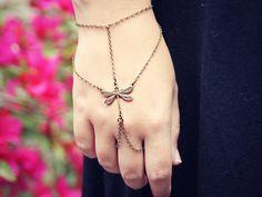 dragonfly slave bracelet, bracelet ring, dragonfly ring, hand piece, dragonfly accessory