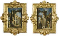 Leonardo Coccorante NAPOLI 1680-1750 CAPRICCI ARCHITETTONICI CON FIGURE Quantity: 2 olio su rame; oil on copper 20x14 cm.