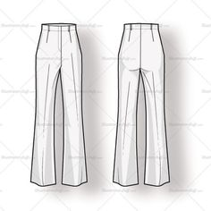 Women's High Waist Slacks Fashion Flat Template