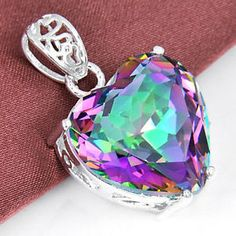 925-Sterling-Silver-Plated-Love-Heart-Rainbow-Mystical-Topaz-Necklace-Pendant