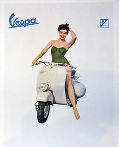 Original 60s Vespa Poster. Antonio Ruggerino Galleria.