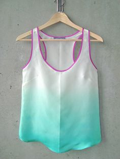 Seafoam Green Ombré Blouse  You could totally do this yourself! Just get powdered fabric dye, and a bucket! Dip your shirt and let rest (for vibrant colors let set 24 hours) to get the ombre fade, immediately after dipping, spray (water in a spray bottle) from top to mid way of shirt to desired effect!