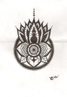 Image detail for -Dessin Tribal Bouddha Sur Un Lotus