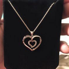 .25 Carat Diamond Heart Necklace. 14k White Gold.