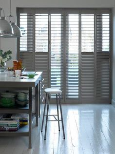 Add some industrial chic to a modern kitchen with grey full-height diy shutters. Kitchen Shutters, Wooden Window Shutters, Diy Shutters, Interior Shutters, Gray Interior, Shop Interior Design, Chicken Breast Recipes Healthy, Buying A New Home, Chicken And Vegetables