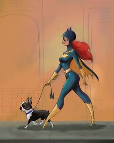 Batgirl marche un terrier de boston
