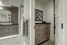 Master suite in grey tones. Sophisticated cool style #woodways #interior #design #grey #cabinets #bathroom
