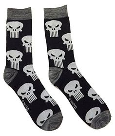 Marvel Comics The Punisher Toss Skull Logo Crew Socks * Find out more about the great product at the image link.Note:It is affiliate link to Amazon.