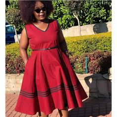 African Traditional Wear, Traditional Fashion, African Fashion Dresses, African Dress, Red Fashion, Fashion Outfits, Shweshwe Dresses, Xhosa, Paris Dresses