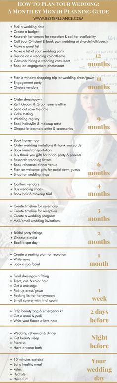 How to Plan Your Wedding: A Month by Month Planning Guide   the overall vision of your wedding is often the easiest part. And how do you know when and how things should be done? That's why using a wedding planning timeline checklist is key to making your dreams a reality. This to-do list will help steer you in the right direction and bring your vision to life! Get it tips at https://bestbrilliance.com/blog/-your-complete-monthly-wedding-planning-timeline-checklist/   On A Budget