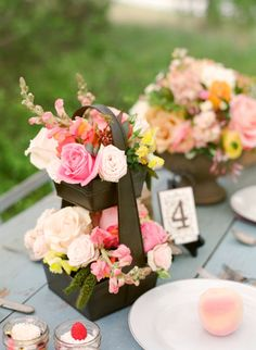 pale blush, peach, vibrant pinks