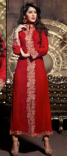 Red Velvet Flower Lace Jacket Type Party Wear Suit 40961