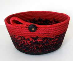 Dramatic Coiled Rope Basket in Black and Red Batik - :