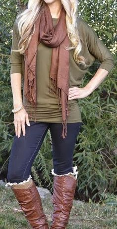 Casual Fall Outfit With Scarf but not that ruffly boot stuff,,,,