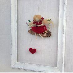 Felt Fairy mobile Valentine gift Waldorf inspired by CozyMilArt Valentine Day Special, Valentine Gifts, Wet Felting, Needle Felting, Felt Fairy, Homemade Toys, Felting Tutorials, Flower Fairies, Waldorf Dolls