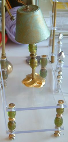 End table with matching lamp (beads). The table is made with plexiglass