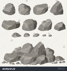 Illustration about Rock stone set cartoon. Stones and rocks in isometric flat style. Set of different boulders. Illustration of mountain, cartoon, material - 69543686 Digital Painting Tutorials, Digital Art Tutorial, Art Tutorials, Concept Art Tutorial, Digital Paintings, Realistic Drawings, Art Drawings, Pixel Art, Drawing Rocks