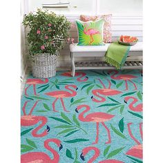 Company C Fancy Flamingo Rug, Room Shot