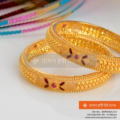 This lovely  designer  is the perfect addition to the classiness of your elegance. Gold Bangles Design, Gold Earrings Designs, Gold Jewellery Design, Necklace Designs, Gold Jewelry, Designer Bangles, Gold Mangalsutra Designs, Gold Models, Indian Jewelry