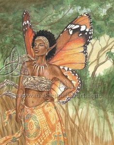 Aziza African Fairy Queen Open Edition by MickieMuellerStudio/Dorothy Johnson African American Art, African Art, Caricatures, Black Fairy, Fantasy Art Women, Fairy Queen, Fantasy Kunst, Black Angels, Black Artwork