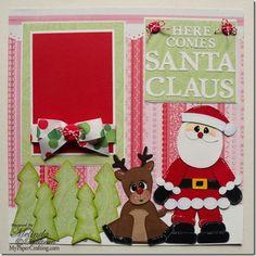 My Cricut Christmas Scrapbook Layouts Baby Scrapbook Pages, Paper Bag Scrapbook, Scrapbook Sketches, Scrapbook Page Layouts, Scrapbook Supplies, Scrapbook Cards, Scrapbooking Ideas, Christmas Scrapbook Layouts, Christmas Layout