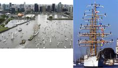 """The Fragata Libertad coming home & entering the port of Buenos Aires. This is always a celebration a quite a sight, as you can see by these two pictures (notice the sailors on the rigging). It always thrilled me to see this. It is a steel hulled, full rigged, class """"A"""" sailing ship which serves as a school vessel in the Argentine Navy."""