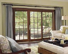 triple/sliding/door curtains - Google Search | Interior Barn Doors ...