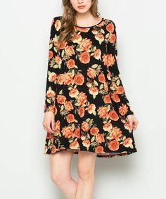 Black & Orange Floral Shift Dress