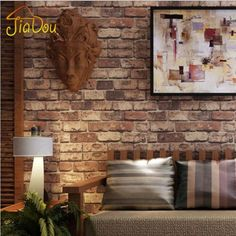 3D Red Brick Stone PVC Wallpaper Home or Business