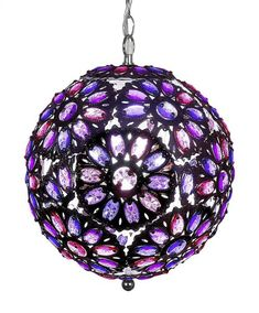 Beautifully handcrafted, this Jeweled Chandelier is meticulously adorned with Pink and Purple acrylic beads. Purple Love, All Things Purple, Purple Glass, Purple Rain, Shades Of Purple, Pink Purple, Beaded Chandelier, Glass Chandelier, Chandeliers