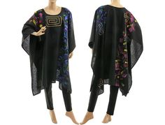 Boho linen black poncho cover hand painted black von classydress