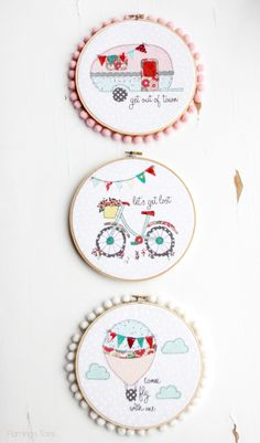Summer Embroidery Hoops