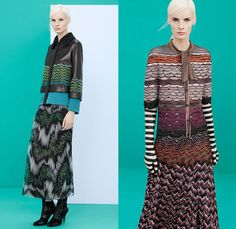 Missoni 2014 Pre Fall Womens Presentation - Pre Autumn Collection - Palazzo Wide Leg Pants Knitwear Leather Pea Coat Furry Capelet Dress Zig...