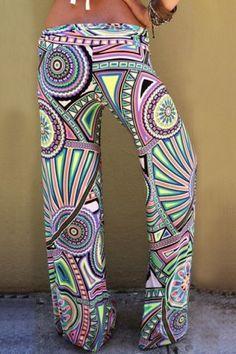Stylish Elastic Waist Geometrical Print Exumas Pants For Women Pants | RoseGal.com Mobile